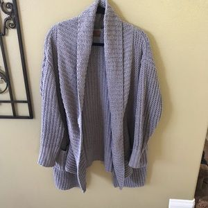 POL WMN L chunky cable knit style cardigan grey